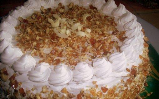 Retete Culinare - Tort cu crema de zahar ars si crantz
