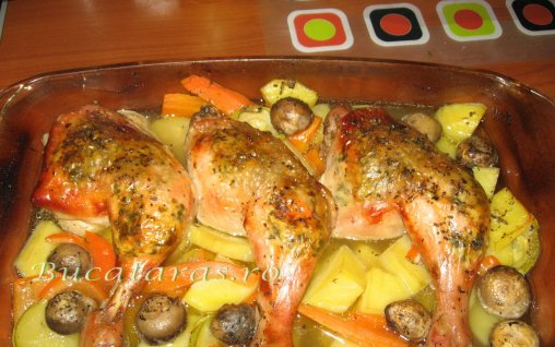 Retete Culinare - Pui cu usturoi si lamaie