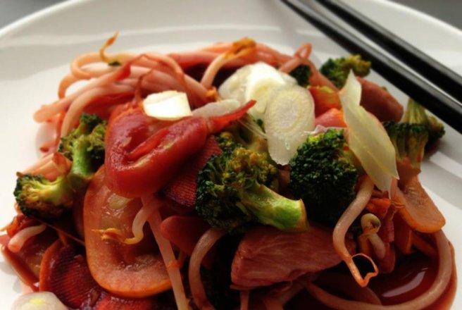 Reteta culinara Stir-fry cu pui, muguri de fasole şi legume ...