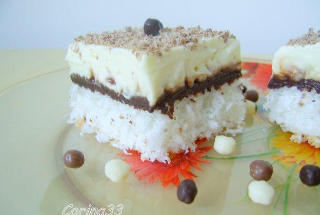 Prajitura cu cocos crema de vanilie si ness