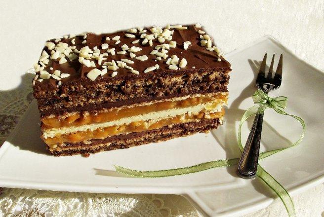 Prajitura cu ciocolata alba si caramel