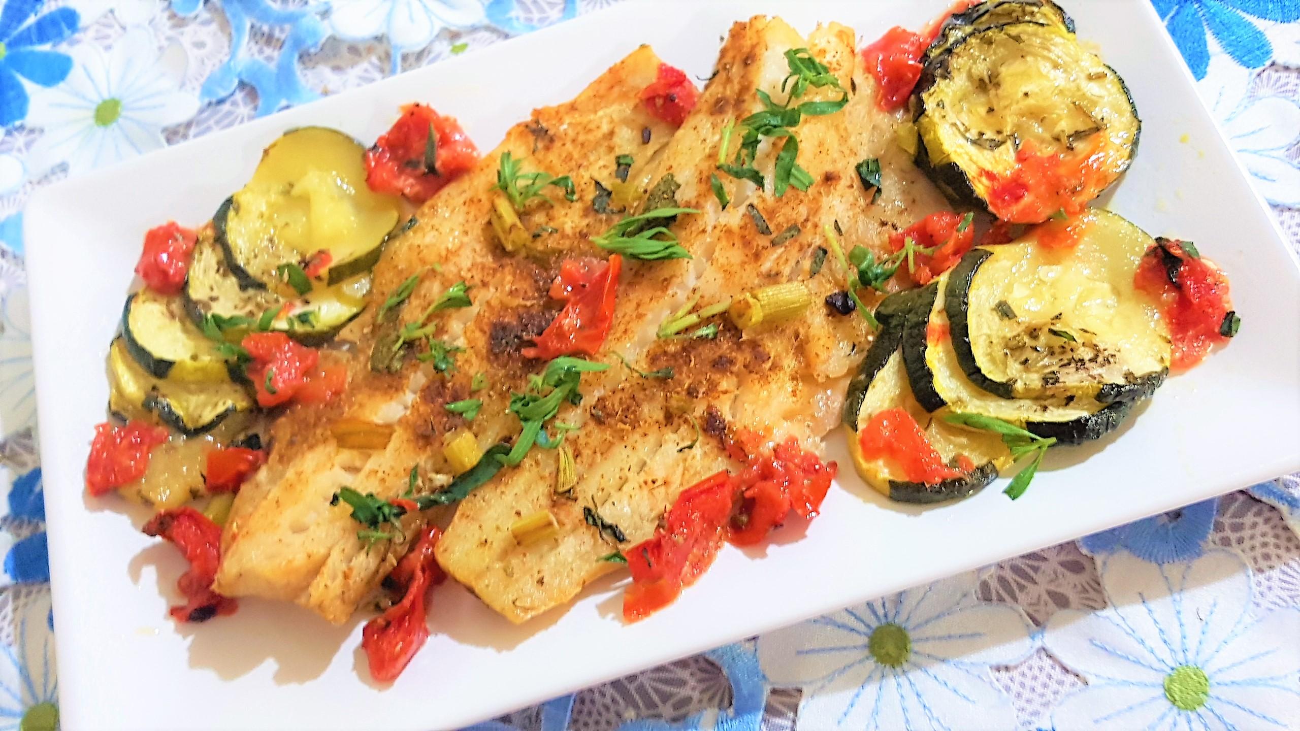 File de cod alb cu zucchini